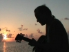 Playing at sunrise in Fla. Keys